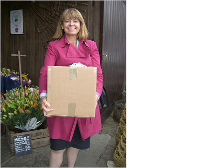 Harriett Baldwin at her local farm shop in Holt Heath