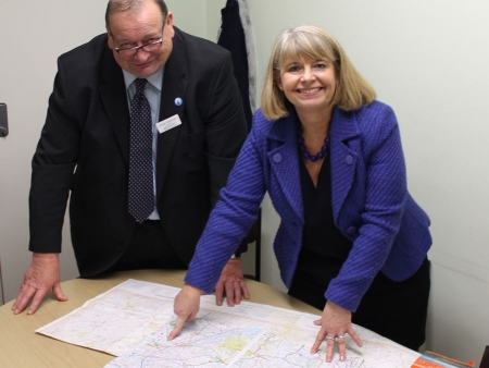 Worcestershire county councillor Adrian Hardman and Harriett Baldwin MP discuss plans to improve traffic flow for the A46