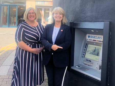 Barclays' Paulette Smith with Harriett Baldwin MP outside the town's Great Malvern branch