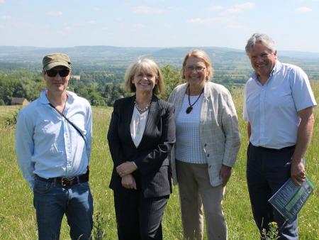 Cotswolds AONB board members Matt Darby, with Harriett Baldwin MP, Councillor Liz Eyre and Martin Lane