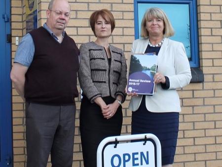 Malvern CAB's Richard West and Karen Edwards with Harriett Baldwin MP.