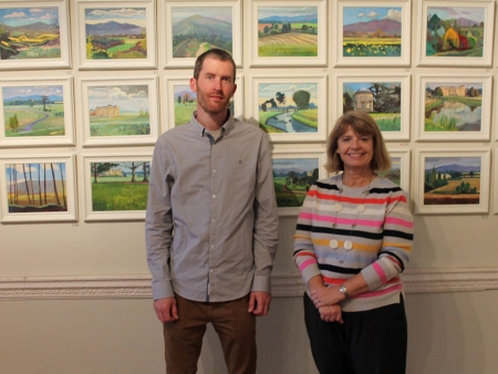 Antony Bridge shows his range of Croome Court pictures to West Worcestershire MP Harriett Baldwin.