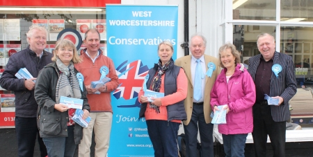 Conservative candidate for West Worcestershire, Harriett Baldwin is joined by supporters on Pershore High Street.