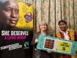 Harriett Baldwin MP (left) is briefed by Fairtrade director Awa Traoré.