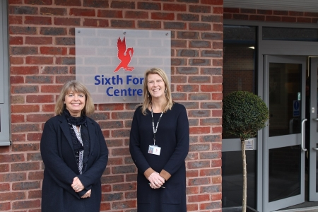 Harriett meets with Hanley Castle High School head teacher Lindsey Cooke at the school's brand new Sixth Form block.