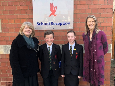 Hanley Castle High School: Harriett Baldwin MP with Arthur Stonehouse, Florence Findlater and headteacher Lindsey Cooke