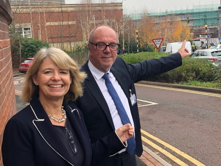 Harriett Baldwin MP is shown the new bridge construction work with Worcestershire NHS Acute Trust chair Sir David Nicholson