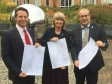 Nigel Huddleston MP and Harriett Baldwin MP look at the link road plans with Wychavon Disctrict Council's Phil Merrick.