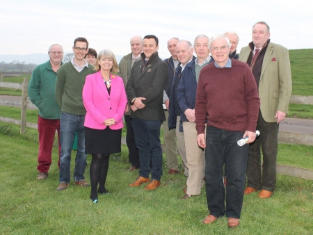 Harriett Baldwin MP (centre) with farmers from the Upton and Pershore NFU branch at Pegoty Hedge Farm near Upton-upon-Severn.