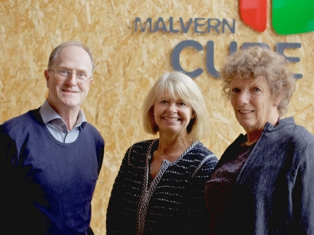 Malvern Cube's treasurer Matthew Chuck, Harriett Baldwin MP and trustee Jill Terry