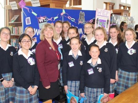 Harriett Baldwin MP with pupils at Malvern St James School;