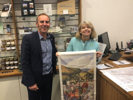 Malvern Hills District Council's Simon Smith with Harriett Baldwin MP at Malvern's new Tourist Information Centre.