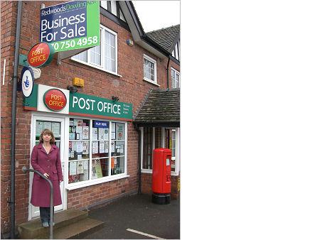 Harriett Baldwin outside Martley Post Office