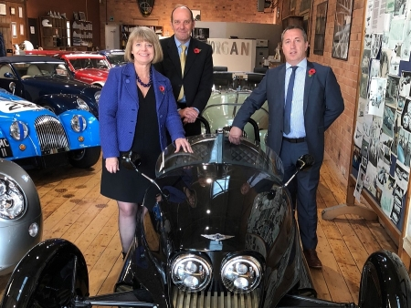 The new EV3 Morgan are (l-r) Harriett Baldwin MP, Dominic Riley and Steve Morris