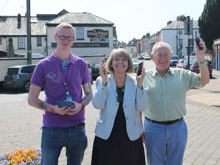 Harriett Baldwin MP celebrates O2 guru Edward Healey (left) and Upton Business Association's Mike Ostick