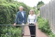 Councillor Paul Tuthill and Harriett Baldwin MP inspect the newly dressed paths in Malvern Link