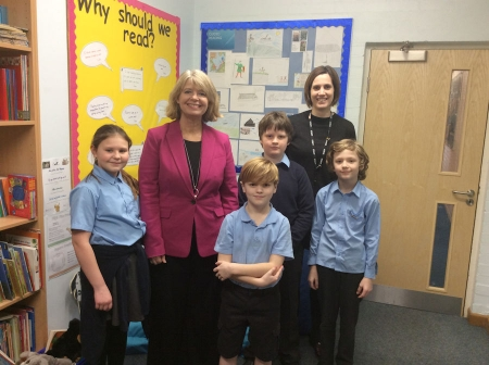 Penock Primary: Harriett Baldwin MP with headteacher Hannah Gilroy (back right) and members of the school council