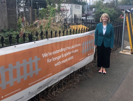 Harriett Baldwin at Pershore station