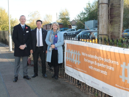 At Pershore Station, Network Rail's Mark Langman, Nigel Huddleston MP and Harriett Baldwin MP