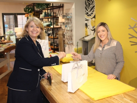 Harriett Baldwin MP does some Christmas shopping to promote Small Business Saturday with Persora's Aimee Hyde