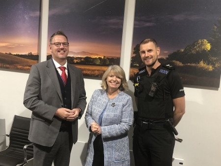 West Mercia Police and Crime Commissioner John Campion, Harriett Baldwin MP and Sergeant Simon Hallam.