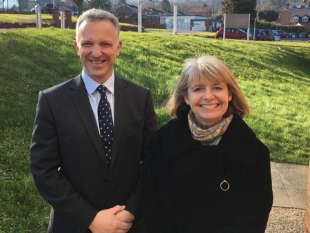 QinetiQ's James Willis and Harriett Baldwin MP at the company's Malvern site
