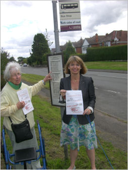 Harriett campaigning against the closure of Rushwick post office where residents would be reliant on bus services.