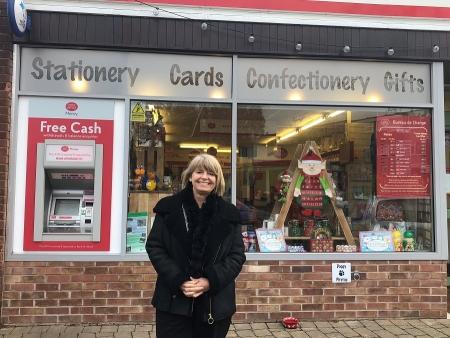 Harriett Baldwin MP starts her local Christmas shopping at Barnards Green Post Office