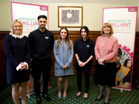 Severn Trent CEO Liv Garfield, apprentices Heeran Basi, Georgia Brown and Jazz Panesar, with Harriett Baldwin MP