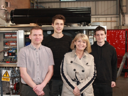 Harriett Baldwin MP tours the Sierra CP factory floor with (l-r) Joe Lowndes, Matt Green and Jack Hawthorn