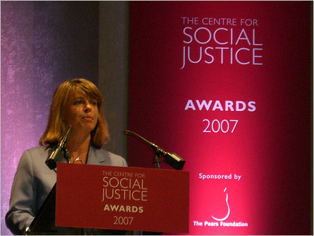 Harriett Baldwin speaks at the 2007 Centre for Social Justice award ceremony