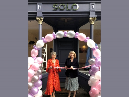 Solo Boutique owner Jill Campbell with Harriett Baldwin MP