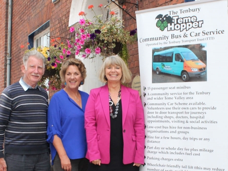 Tenbury Transport Trust's John Driver and Wendy Schuster with Harriett Baldwin MP
