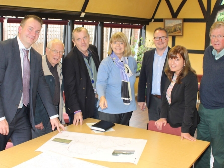 Harriett Baldwin is briefed on the latest Environment Agency plans for Tenbury