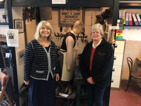 Harriett Baldwin MP tours the Tenbury museum with Liz Finlay.