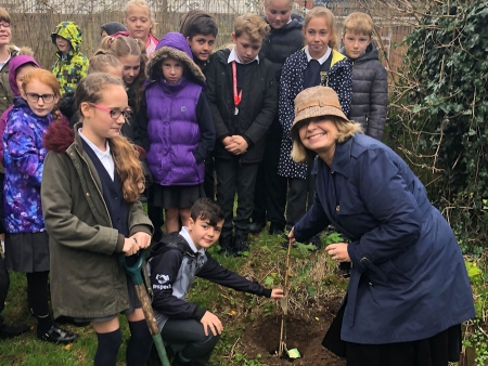 Harriett Baldwin MP is joined by pupils from Lower Broadheath Primary School planting an oak tree in the grounds of the school.