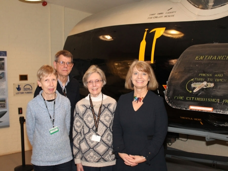 Harriett Baldwin MP with RAF Defford museum volunteers (l-r) Ann Sterry, John Sterry and Pauline Gardiner