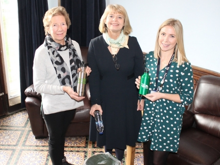 MP backs water bottle refill scheme, pic with ouncillor Bronwen Behan and Sophie Jackson, Community Services Engagement Officer