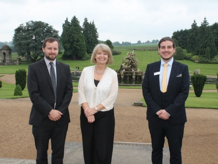 Harriett Baldwin with Matt Bulford and Robert Edwards at the Andromeda and Perseus at Witley Court