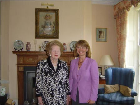 Lady Thatcher congratulates Harriett Baldwin on her selection