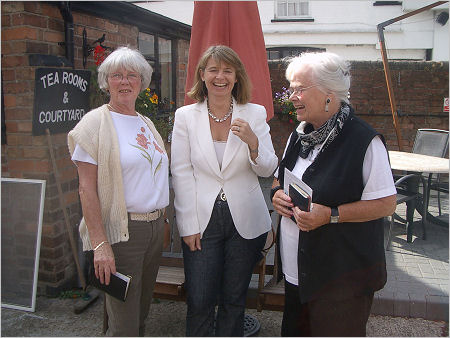 Harriett Baldwin with local Councillor, Mary Wilkinson and Rosemary Webb